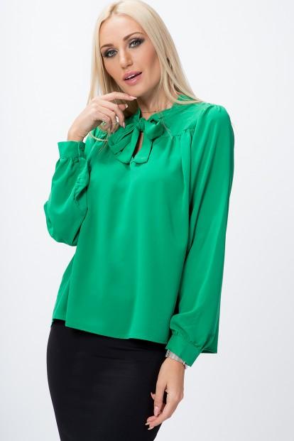 Košeľa s výstrihom a krásnou mašľou, zelená