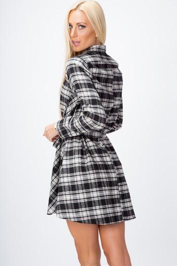 Moderné, kárované šaty s dlhým rukávom, WHITE/BLACK