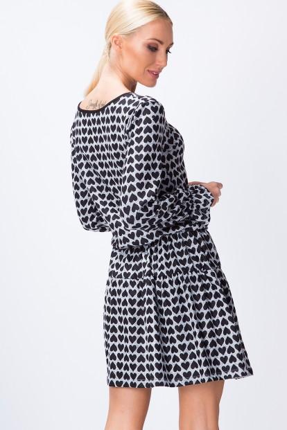 Áčkové šaty so srdiečkami, dlhý rukáv, sivé