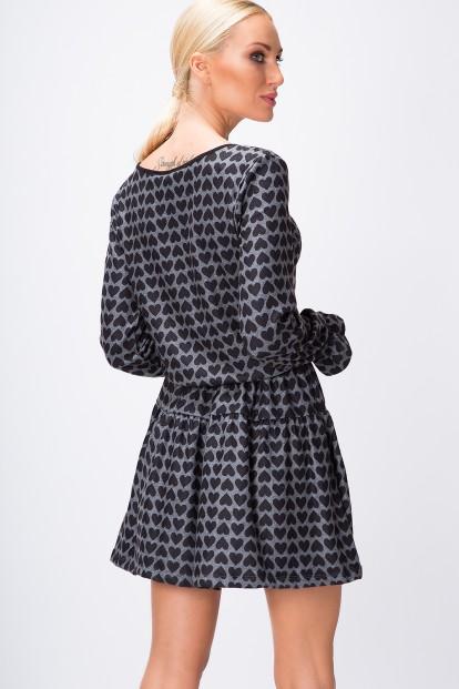 Áčkové šaty so srdiečkami, dlhý rukáv, šedé
