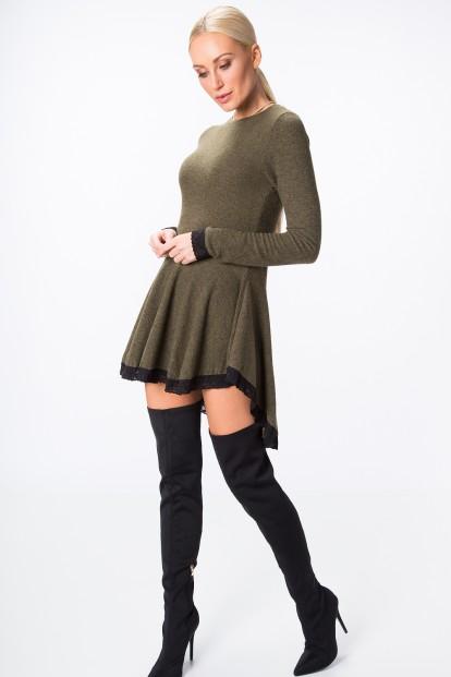 Asymetrické šaty s dlhým rukávom a čipkou na spodnom okraji, kaki