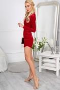 Elegantné, sexi, mini červené šaty s dlhými rukávmi.