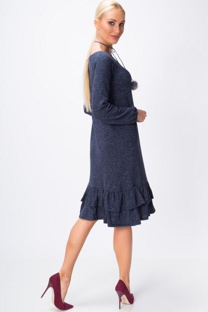 Šaty so zvonovou sukňou ozdobenou jemnými volánmi na spodnom okraji, navy