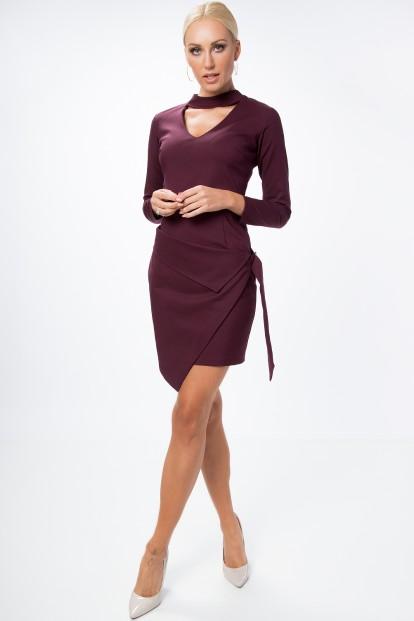 Asymetrické, zavinovacie šaty s chorekom a dlhým rukávom, slivkové