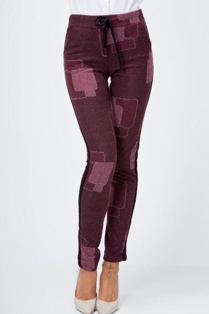 Pletené nohavice s pruhmi na bokoch, bordové