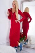 Maxi šaty s kapucňou a výstrihom na zips, červené
