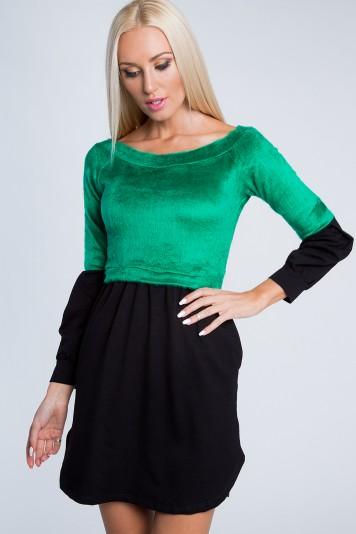 Dvojfarebné, krásne, krátke šaty s dlhým rukávom, zelené
