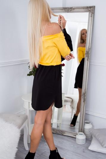 Dvojfarebné, krásne, krátke šaty s dlhým rukávom, žlté