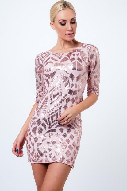 Zaujímavé, puzdrové šaty s 3/4 rukávom a flitrami, ružové
