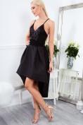 Čierne, asymetrické, spoločenské šaty na ramienka