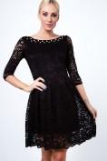 Nádherné, čipkované šaty s 3/4 rukávom, čierne