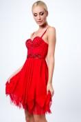 Šaty na ramienka s dekoratívnymi kamienkami, červené