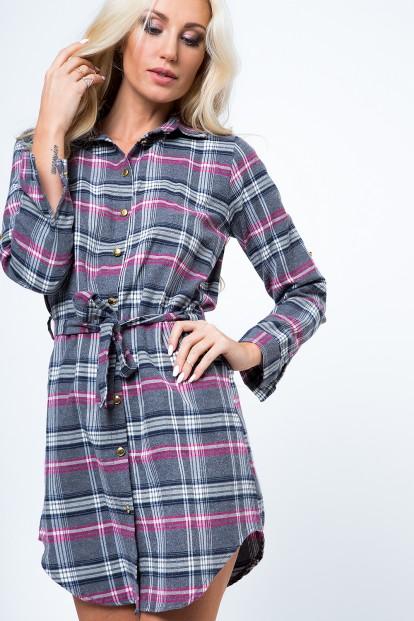 Šaty v štýle károvanej košele, sivá/ružová
