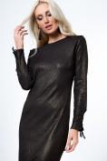 Midi šaty s púzdrovým strihom a ozdobným viazaním, čierna/zlatá