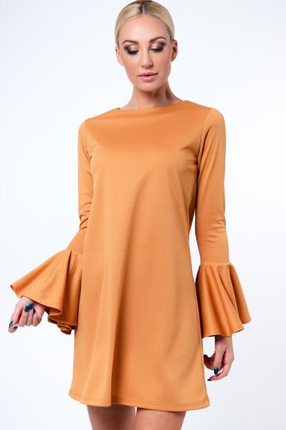Krásne, krátke šaty so širokými rukávmi, medové