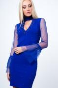Štýlové šaty s chokerom, šifónovými rukávmi a dekoratívnymi perlami, modré