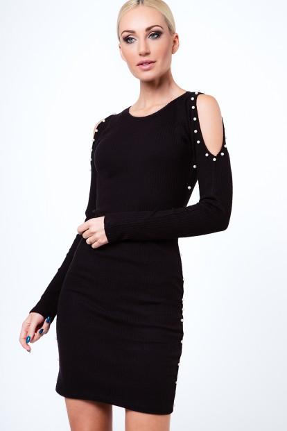 Šaty s perličkami z rebrovaného materiálu, čierne