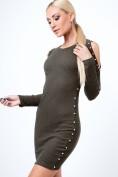 Šaty s perličkami z rebrovaného materiálu, kaki