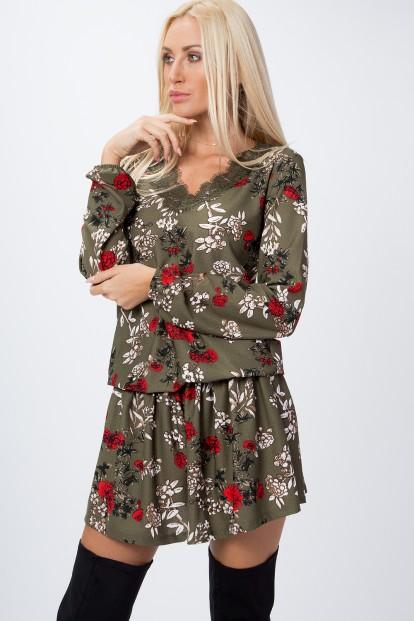 Jedinečné, krátke šaty posiate kvetmi s dlhým rukávom, kaki