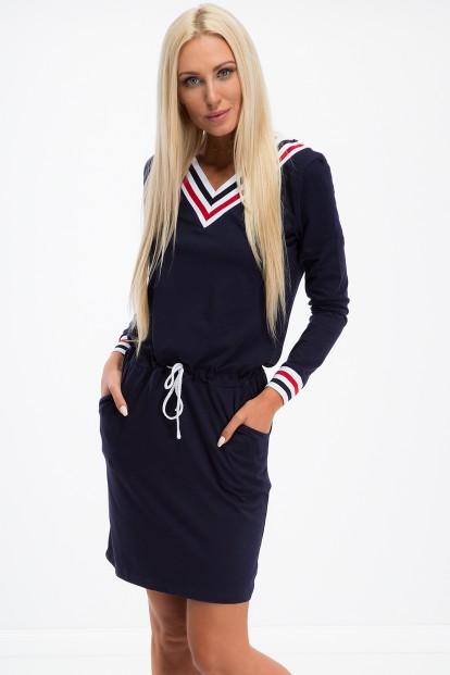 Športové šaty s dlhým rukávom a výstrihom tvaru V, navy