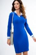 Bavlnené šaty s dlhým rukávom a stojačikom s V výstrihom, modré