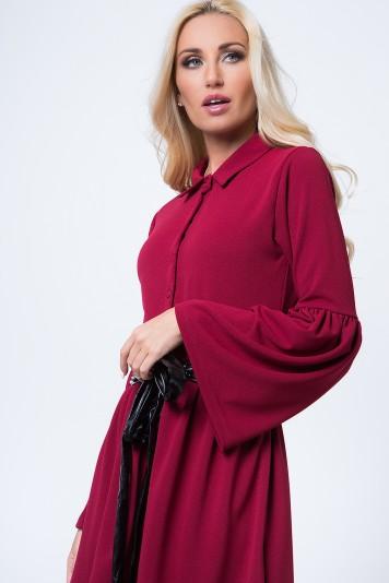 Košeľové šaty so zapínaním do pásu na gombíky, bordové