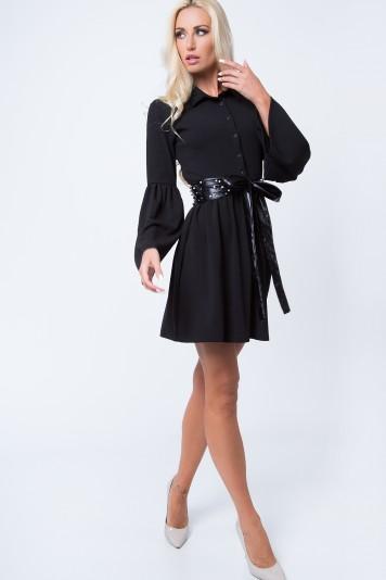 Košeľové šaty so zapínaním do pásu na gombíky, čierne