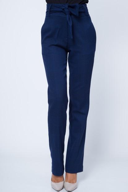 Moderné nohavice s vysokým pásom , navy