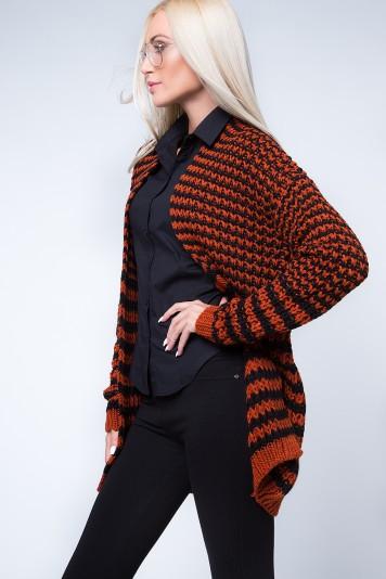Pruhovaný, moderný kardigán, čierna/oranžová