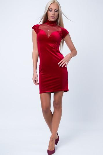 Velúrové šaty s priehľadným výstrihom, červené