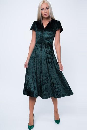 Midi šaty s krátkym, jemne zloženým rukávom, zelené
