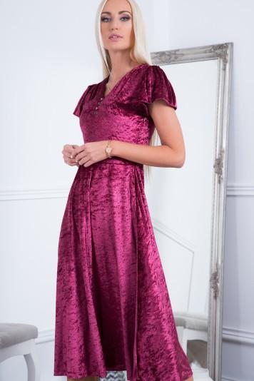 Midi šaty s krátkym, jemne zloženým rukávom, bordové