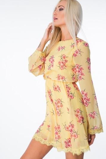 Moderné, kvetinové šaty, zviazané vzadu, žlté