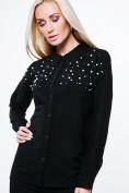 Košeľa s perličkami a korálkami, zviazaná vzadu, čierna