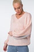 Oversize svetrer s trblietavými pruhmi, púdrový