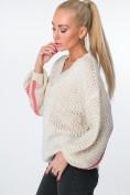 Oversize  sveter s trblietavými pruhmi, béžový