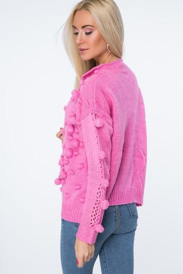 Svetrový blejzer s pomponmi, ružový