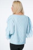 Moderný sveter so strapcami na rukávoch a výstrihu, modrý
