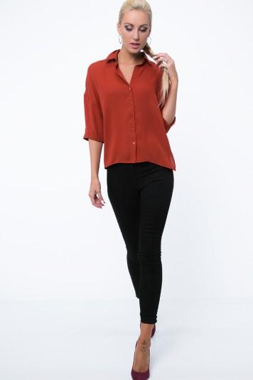 Asymetrická košeľa v oversize štýle s 3/4 rukávom, oranžová