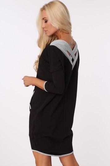 Šaty s trblietavými, striebornými detailmi , čierne