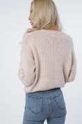 Krátky sveter,zdobený na prednej strane a rukávoch, púdrový