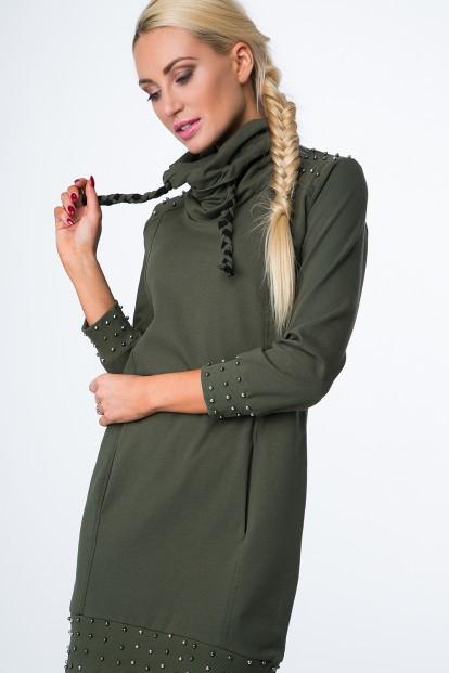 Mikinové šaty s korálkami a komínovým golierom, kaki