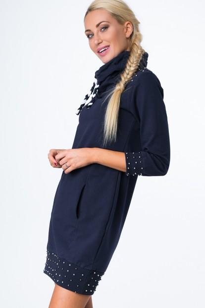 Mikinové šaty s korálkami a komínovým golierom, navy