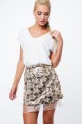 Moderná sukňa s flitrami a tylom, zlatá