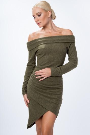 Asymetrické šaty s odhalenými ramenami, kaki