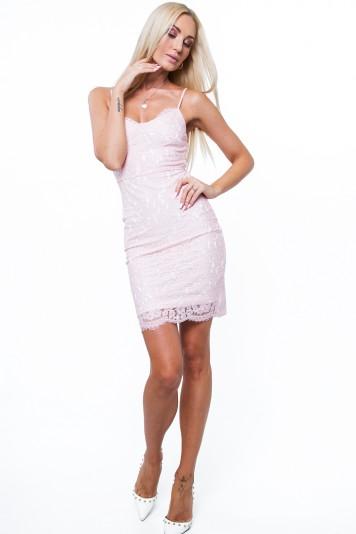 Svetloružové čipkované dámske šaty s bielou podšívkou