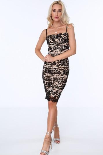 Čierne dámske čipkované šaty s tenkými ramienkami