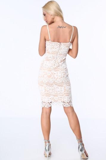Béžové dámske čipkované šaty s tenkými ramienkami