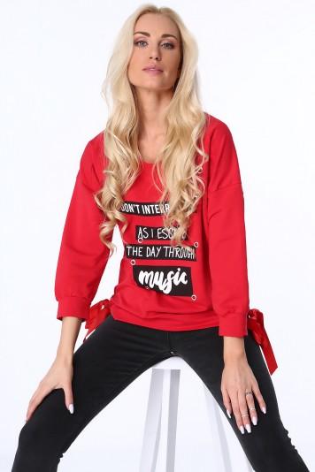 Moderná dámska mikina s potlačou, červená
