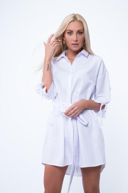 Košeľové šaty s viazaním na páse, biele